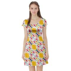 Dots And Rhombus Short Sleeve Skater Dress by LalyLauraFLM