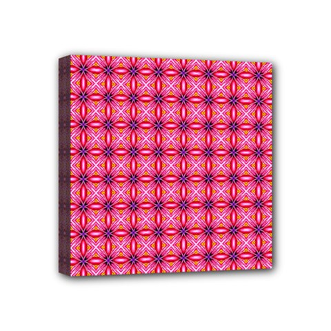 Abstract Pink Floral Tile Pattern Mini Canvas 4  X 4  (framed) by creativemom