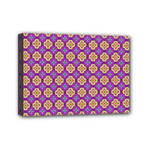 Purple Decorative Quatrefoil Mini Canvas 7  X 5  (framed) by creativemom