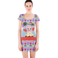 Cupcake With Cute Pig Chef Short Sleeve Bodycon Dress by creativemom