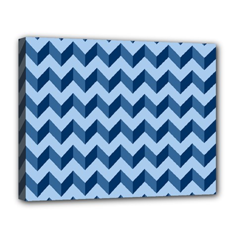 Tiffany Blue Modern Retro Chevron Patchwork Pattern Canvas 14  X 11  (framed) by creativemom