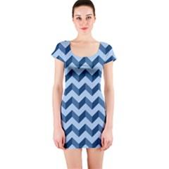 Tiffany Blue Modern Retro Chevron Patchwork Pattern Short Sleeve Bodycon Dress by creativemom
