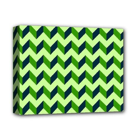 Green Modern Retro Chevron Patchwork Pattern Deluxe Canvas 14  X 11  (framed) by creativemom