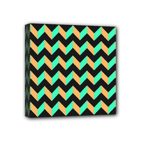 Neon And Black Modern Retro Chevron Patchwork Pattern Mini Canvas 4  X 4  (framed) by creativemom