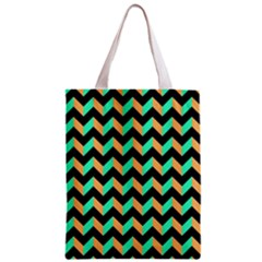 Neon And Black Modern Retro Chevron Patchwork Pattern Classic Tote Bag by creativemom