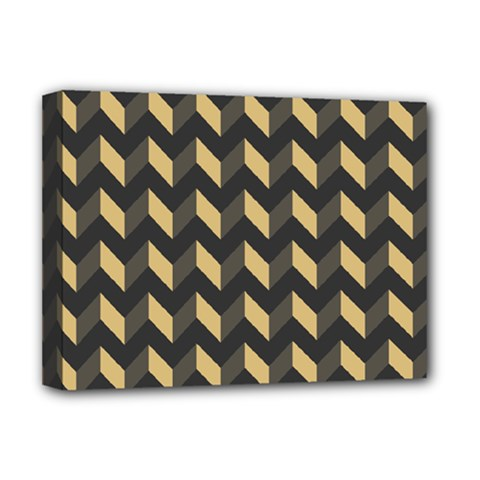 Tan Gray Modern Retro Chevron Patchwork Pattern Deluxe Canvas 16  X 12  (framed)  by creativemom