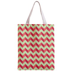 Mint Pink Modern Retro Chevron Patchwork Pattern Classic Tote Bag by creativemom