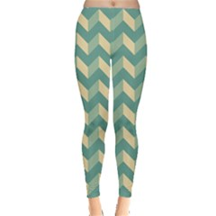 Mint Modern Retro Chevron Patchwork Pattern Leggings  by creativemom