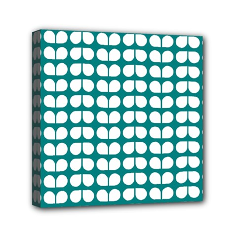 Teal And White Leaf Pattern Mini Canvas 6  X 6  (framed) by creativemom