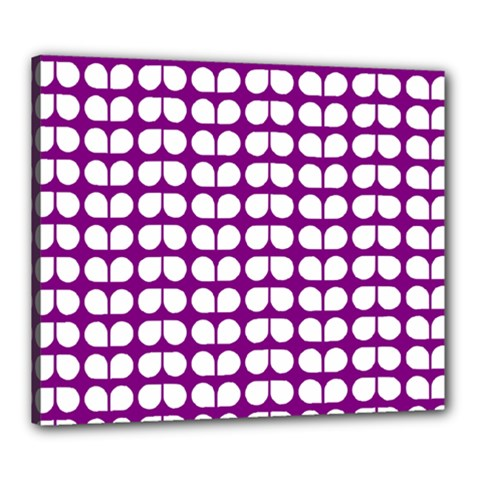 Purple And White Leaf Pattern Canvas 24  X 20  (framed) by creativemom