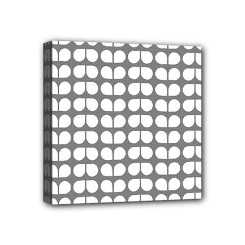 Gray And White Leaf Pattern Mini Canvas 4  X 4  (framed) by creativemom