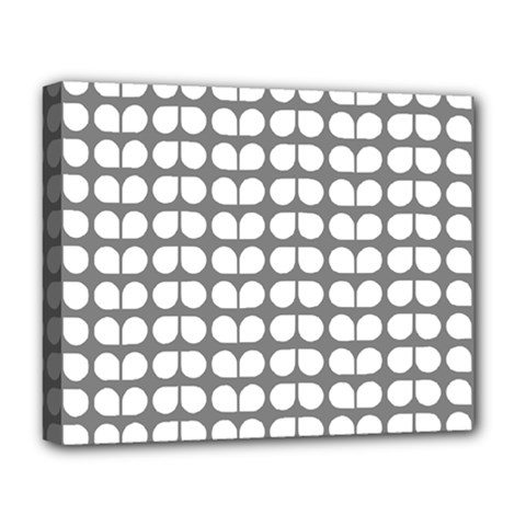Gray And White Leaf Pattern Deluxe Canvas 20  X 16  (framed) by creativemom