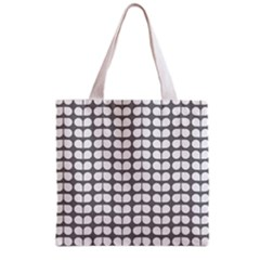 Gray And White Leaf Pattern Grocery Tote Bag by creativemom