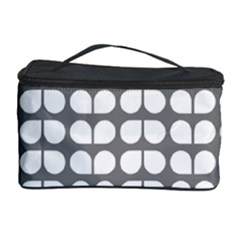 Gray And White Leaf Pattern Cosmetic Storage Case by creativemom