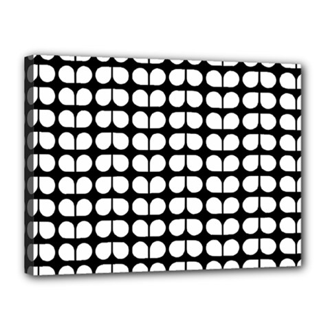 Black And White Leaf Pattern Canvas 16  X 12  (framed) by creativemom