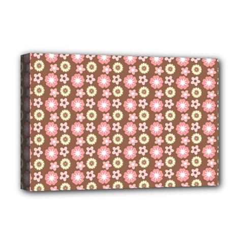 Cute Floral Pattern Deluxe Canvas 18  x 12  (Framed) by creativemom