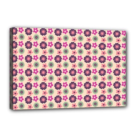 Cute Floral Pattern Canvas 18  X 12  (framed) by creativemom
