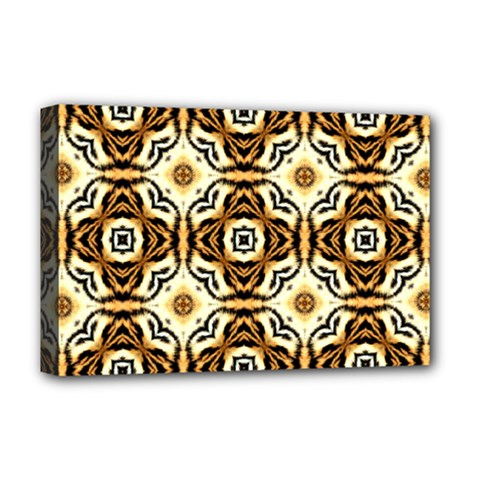 Faux Animal Print Pattern Deluxe Canvas 18  X 12  (framed) by creativemom
