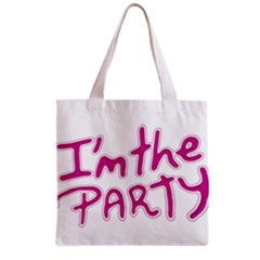I Am The Party Typographic Design Quote Grocery Tote Bag by dflcprints