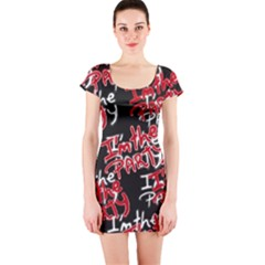 I am the Party Text Quote Short Sleeve Bodycon Dress by dflcprintsclothing