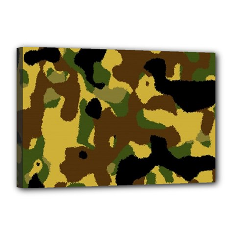 Camo Pattern  Canvas 18  X 12  (framed) by Colorfulart23