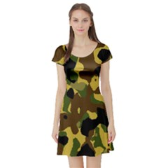 Camo Pattern  Short Sleeve Skater Dress by Colorfulart23