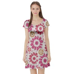 Floral Print Collage Short Sleeve Skater Dress by dflcprintsclothing
