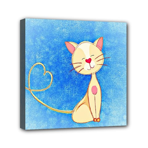 Cute Cat Mini Canvas 6  X 6  (framed) by Colorfulart23
