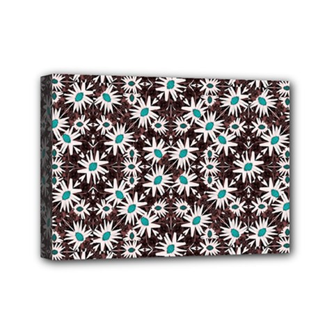 Modern Floral Geometric Pattern Mini Canvas 7  X 5  (framed) by dflcprints