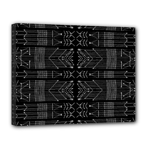 Black And White Tribal  Canvas 14  X 11  (framed) by dflcprints