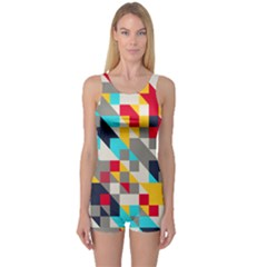 Colorful Shapes Women s Boyleg Swimsuit by LalyLauraFLM