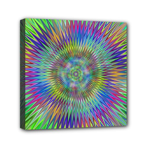 Hypnotic Star Burst Fractal Mini Canvas 6  X 6  (framed) by StuffOrSomething