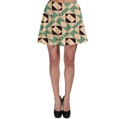 Brown Green Rectangles Pattern Skater Skirt by LalyLauraFLM