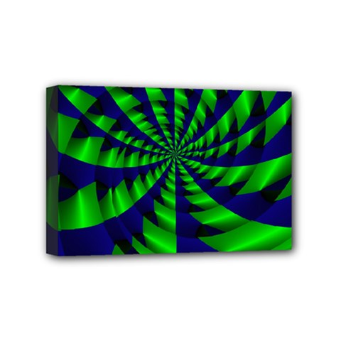 Green Blue Spiral Mini Canvas 6  X 4  (stretched) by LalyLauraFLM