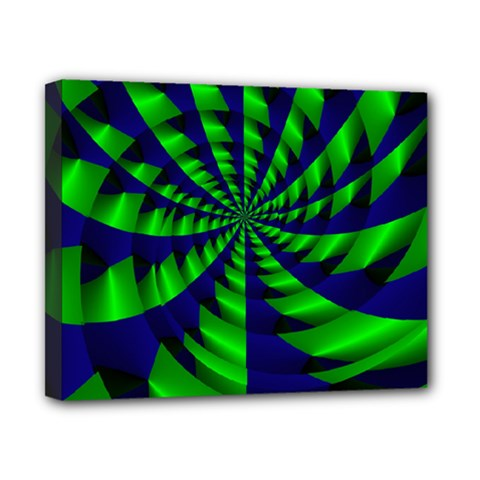 Green Blue Spiral Canvas 10  X 8  (stretched) by LalyLauraFLM