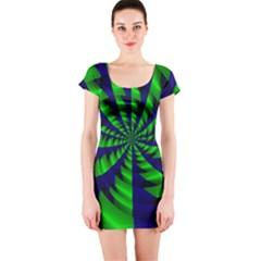 Green Blue Spiral Short Sleeve Bodycon Dress by LalyLauraFLM