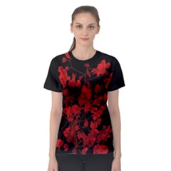 Dark Red Floral Print Women s Sport Mesh Tee by dflcprintsclothing