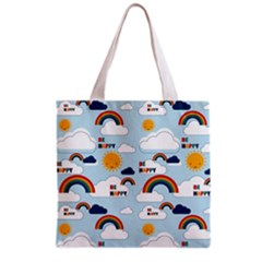 Be Happy Repeat Grocery Tote Bag by Kathrinlegg