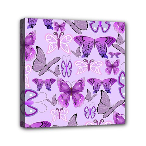 Purple Awareness Butterflies Mini Canvas 6  X 6  (framed) by FunWithFibro