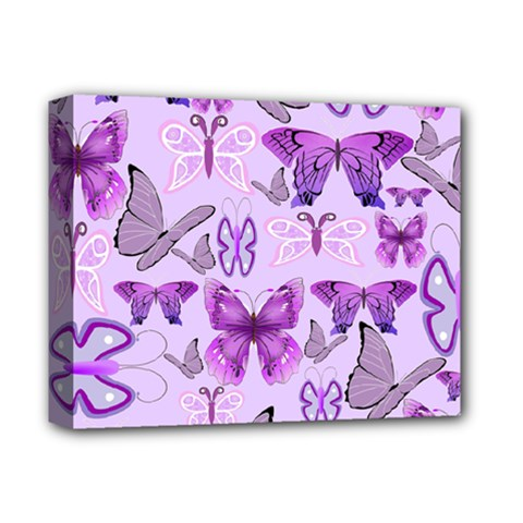 Purple Awareness Butterflies Deluxe Canvas 14  X 11  (framed) by FunWithFibro