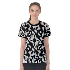 Black and White Print Women s Cotton Tee by dflcprintsclothing