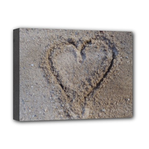Heart in the sand Deluxe Canvas 16  x 12  (Framed)  by yoursparklingshop
