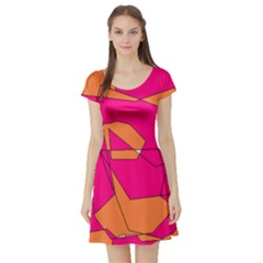 Red Orange 5000 Short Sleeve Skater Dress by yoursparklingshop