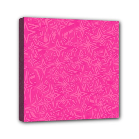 Abstract Stars In Hot Pink Mini Canvas 6  X 6  (framed) by StuffOrSomething