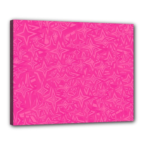Abstract Stars In Hot Pink Canvas 20  X 16  (framed) by StuffOrSomething