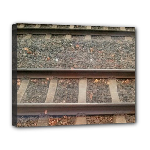 Railway Track Train Deluxe Canvas 20  X 16  (framed) by yoursparklingshop