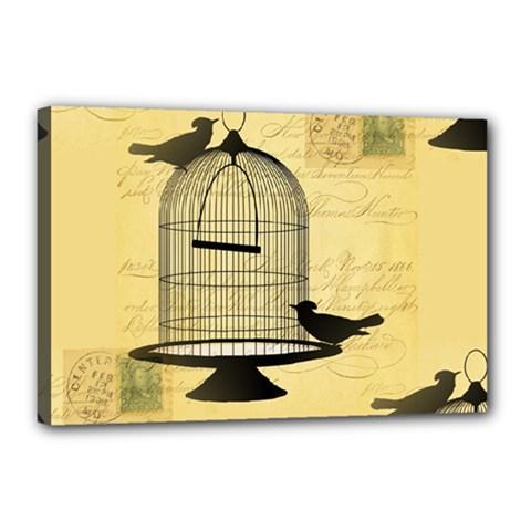 Victorian Birdcage Canvas 18  X 12  (framed) by boho