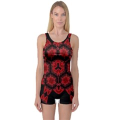 Red Alaun Crystal Mandala Women s Boyleg One Piece Swimsuit by lucia