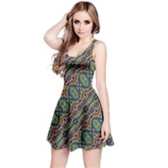 Colorful Tribal Geometric Print Reversible Sleeveless Dress by dflcprintsclothing