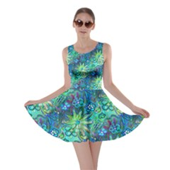 Rokin Aqua Blue Floral Skater Dress by rokinronda